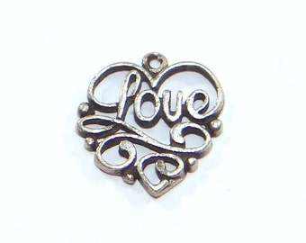 Sterling Openwork Love Charm - Vintage Silver Flat Heart Charm - Ornate Design with Love in Script