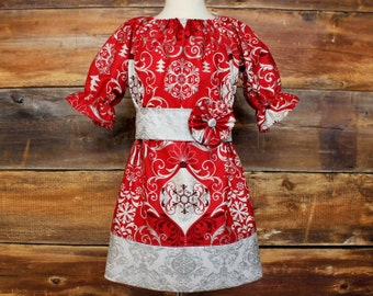 Christmas Dress Holiday Outfit Newborn to Child Size 11/12 baby infant toddler tween girls teen Traditional Classic Elegant red silver