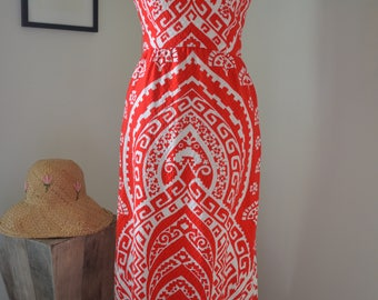 Vintage 50s Carlye red white ethnic textured print maxi dress XS extra small