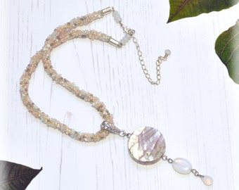 DAYBREAK MOON Beadweave Choker Necklace with Mother of Pearl Pendant Beaded Neacklace Unique Gift