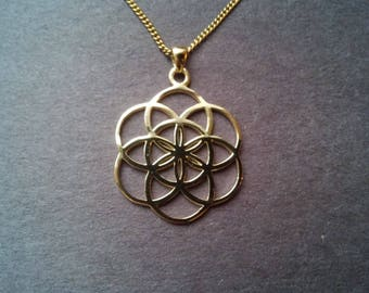 Seed of life pendant in solid gold 10k - sacred geometry - flower of life jewelry