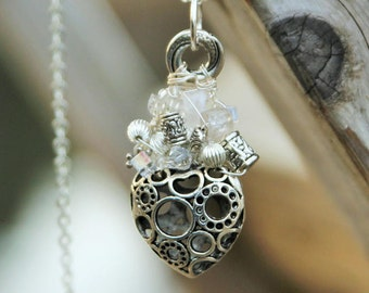 Steampunk Cool Heart, MUSKOKASTONE wire wrapped pendant is made with sterling silver wire, glass, crystal, resin & pewter beads