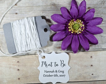 White Wedding Tags set of 20 - Personalized Wedding Favor Tags - White Custom Favors - Shower Tags - White Bridal Shower - Mint to Be