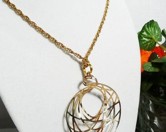 Gold Tone Light Spiral Pendant Chain Necklace, pendant necklace, gold tone, spiral pendant, redesigned vintage