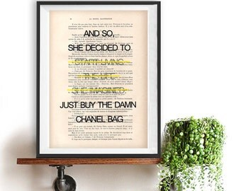 Buy Chanel Bag living art print Typography Posters Home decor fun words, minimalist fun vintage book page funny quote friend gift fashion