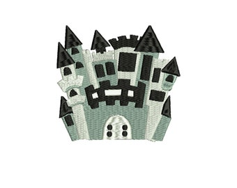 Castle embroidery design, 2 sizes