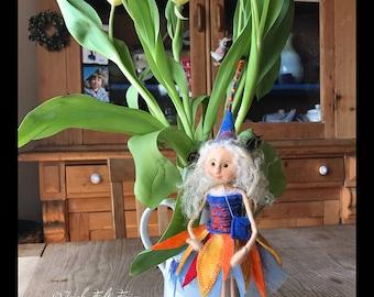 quirky little felt fairy,felted wool fairy,sitting fairy felted TARA