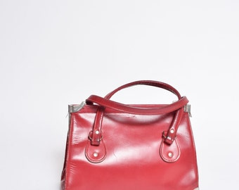 Vintage Red Leather 1990's Mini Handbag with Metal Clasps