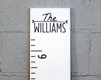 DIY Growth Chart Ruler Add-On -- Custom Personalized Decal -- Top Header -- Modern Style Family Name