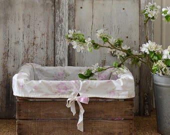 Vintage French Farm Apple Crate with Flower Cover