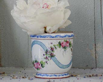 Antique French Porcelain Pot With Hand Painted Details