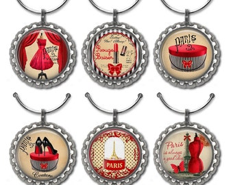 Paris fashion wine charms vintage french party favors bachelorette party girls night out shower favor girlfriend gift under 20.