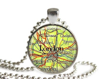 London map necklace vintage London map atlas pendant England travel jewelry.