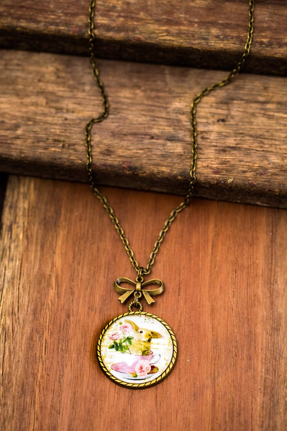 FREE SHIPPING - **NEW** Rabbit In A Teacup 30mm Bronze Lace & Bow Pendant Necklace - Unique - Vintage - Gorgeous Gift - Love