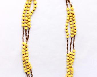 Yellow African beaded necklace