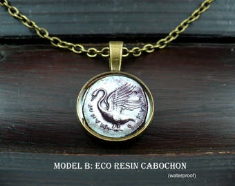 Swan pendant, greek coin jewelry, ancient greece, cabochon necklace, bird jewelry, archaeology, classical art history, 15% off shipping