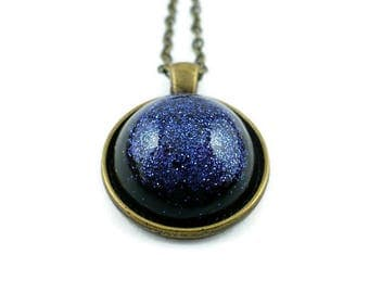 Black blue glitter necklace, in ecological resin, sparkle jewelry, space galaxy pendant, made in Italy, handmade, 15% off shipping