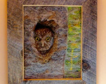 Northern Saw Whet Owl, framed needle felted of wool and alpaca fiber with silk fiber overlay