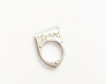 Geometric ring, Contemporary jewerly, Everyday ring, Clear Plexiglass ring, silver ring