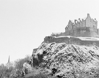 Edinburgh Castle // Snow // Edinburgh // Scotland // Fine Art Print // Black and White Photograph // Wall Art // Decor