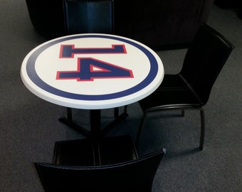 SPORTS ROUND TABLE customize any name, any number, any color, anything