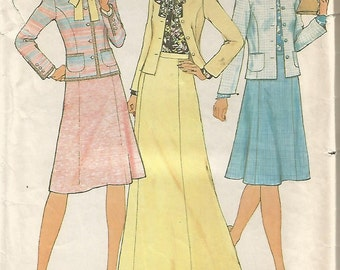 7394 Simplicity Sewing Pattern Long/Short Skirt Unlined Jacket Blouse Size 12 Vintage 1970s