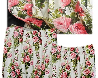 Vintage Curtains, Mid Century, 50's, Drapes, Panels, Barkcloth, RAYON BARKCLOTH, Roses, Shabby, Cottage, Chic, Draperies, Garden, Country
