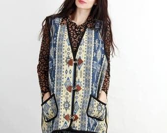 Vintage Tribal Tapestry Vest / Folk Vest /  Folk Waistcoat  / Embroidered Vest / Blanket Vest / Size  XXL