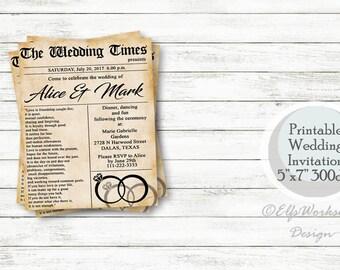 Wedding invitation, Newspaper wedding invitation, Vintage invitation, First page news wedding, Printable invitation
