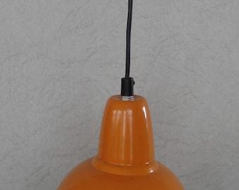 70s Enamel Pendant orange Industrial lamp, Mid Century Germany