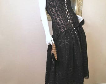 80s Victor Costa Lace Dress. Black Strapless Dress. Tea Length Drop Waist. Black Evening Gown. Cocktail Party Dress. Wedding Guest Dress M