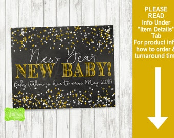 New Years Pregnancy Announcement Sign - Printable Pregnancy Announcement Sign - Digital Chalkboard Sign - New Years Eve Pregnancy Sign