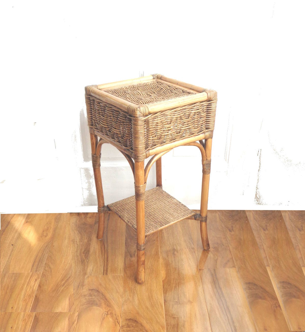 Vintage 1970s wicker bamboo side table plant stand shabby for Bamboo side table