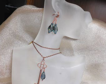 Summer Rain Key Charm Necklace Earrings Set Antique Copper Metal Key Blue Raindrops Growth Garden Grad Gift Sister Daughter Mom Aunt Grandma