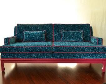 Chinoiserie Sofa Velvet Ming Turquoise Fuschia Pink