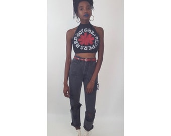 Remade Red Hot Chili Peppers High Neck Halter Backless Tank Top - Small Heavy Metal Crop Midriff Belly Shirt - Upcycled Recycled Open Back