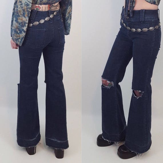 Size 6 Small Low/Mid Waisted Bell Bottom Jeans with Rips in Knees - Navy Blue Wash 1970s Style FURSTpremium Denim - Raw Hem Flared Jeans