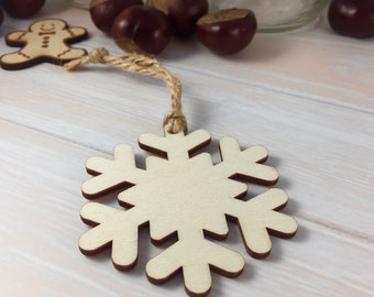 Wooden Snowflake Shaped Christmas Tree Ornament / Decoration