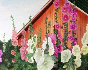 Hollyhocks, Barns, Farms, Wall Art, Gardens, Botanical, Flowers, Plants, Horticulture - 8 x 10 Art Print