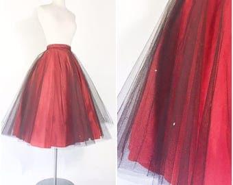 vtg 1950s red taffeta full circle pinup party skirt with sheer black tulle netting / rhinestone studs / high waist / metal zipper / 25 waist