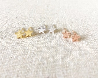 Shiny Tiny Star Earrings, Star Post Earrings, Rose Gold Star Earrings, Gold Star Earrings, Silver Star Earrings, Star Stud Earrings