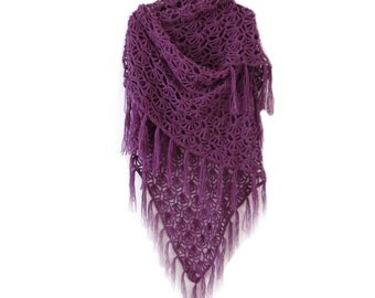 "VIOLET CROCHET SHAWL -  Unique Handmade Fringe Shawl - Large Crochet Wrap (73"" x 45"")"