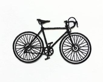 Bicycle Iron-on Patch / Black & White / Old-school Bike / Appliqué / Embroidery