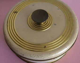 Vintage Round Mid Century Modern Container with Gold Accents