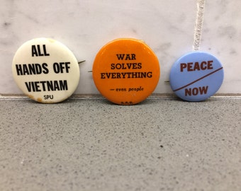Three 1960s Anti-War Pins, SPU Vietnam, Free USA Shipping