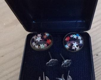 Three pairs of vintage sterling silver stud earrings