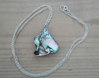 Vintage shell pendant and sterling silver chain