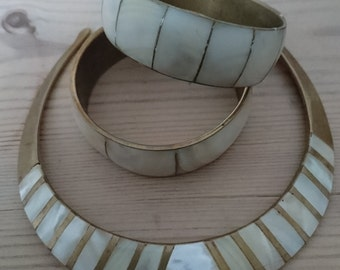 Vintage mother of pearl inlaid choker with two bangles