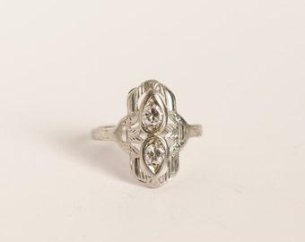 Art Deco 14k White Gold .35 TCW Twin Diamond Filigree Engagement Wedding Ring Size 6.25