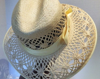 1990s Fabini Open Weave Wide Brim Hat Natural Straw